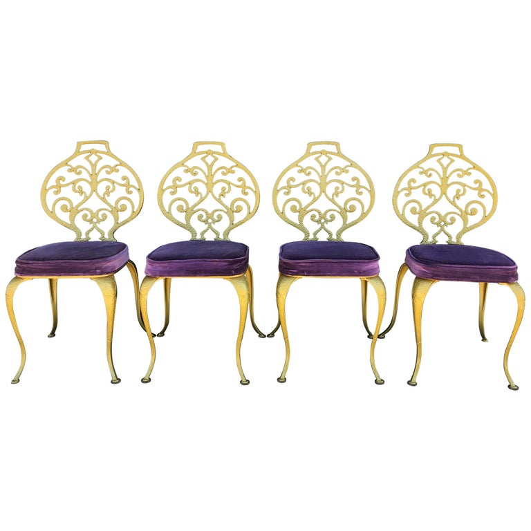 Set of 4 Gold Leafed Thinline Mfg Dining Chairs For Sale