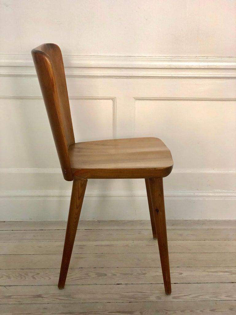 Set of 4 Goran Malmvall Swedish Pine Chairs, Svensk Fur, Sweden, 1940s For Sale 1