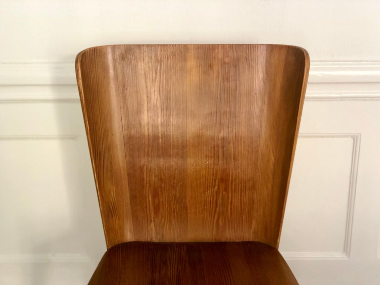 Set of 4 Goran Malmvall Swedish Pine Chairs, Svensk Fur, Sweden, 1940s For Sale 2