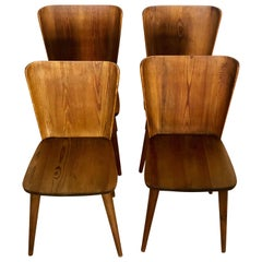 Set of 4 Goran Malmvall Swedish Pine Chairs, Svensk Fur, Sweden, 1940s