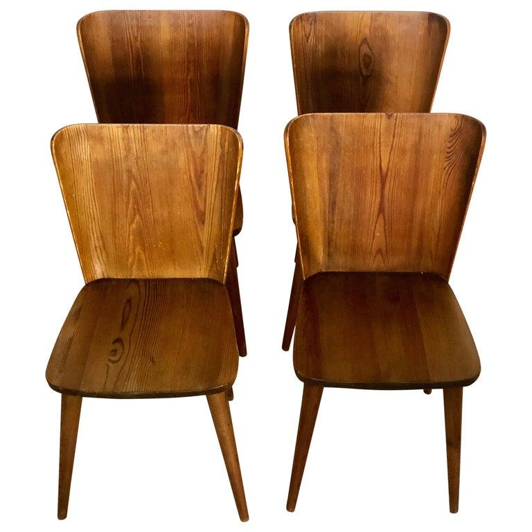 Set of 4 Goran Malmvall Swedish Pine Chairs, Svensk Fur, Sweden, 1940s For Sale