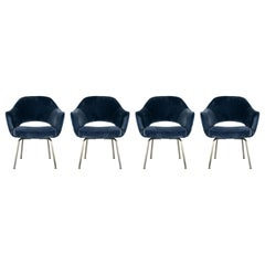 Set of 4 Gorgeous Velvet Upholstered Eero Saarinen Chairs