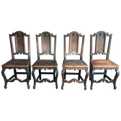 Set of 4 Gothic Style Hall Chairs, Italian, circa 1780