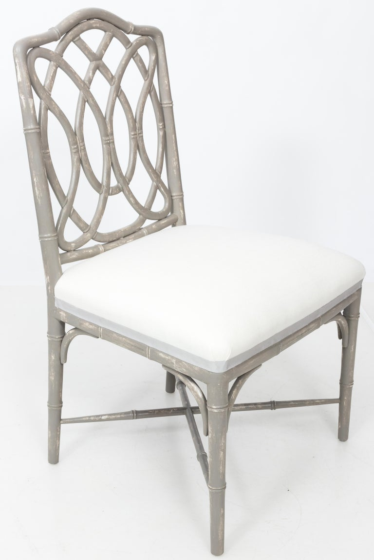Chinoiserie Set of 4 Gray Faux Bamboo Dining Chairs For Sale