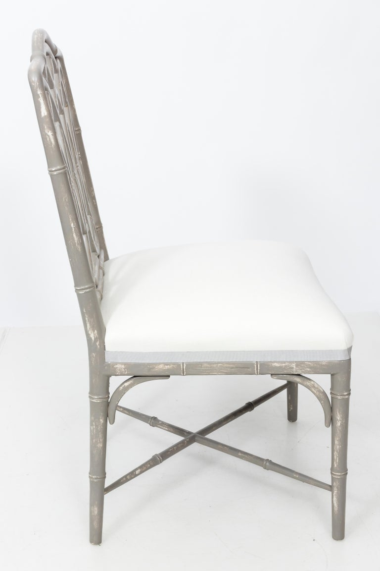American Set of 4 Gray Faux Bamboo Dining Chairs For Sale