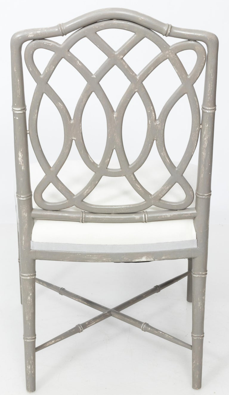 Hand-Painted Set of 4 Gray Faux Bamboo Dining Chairs For Sale