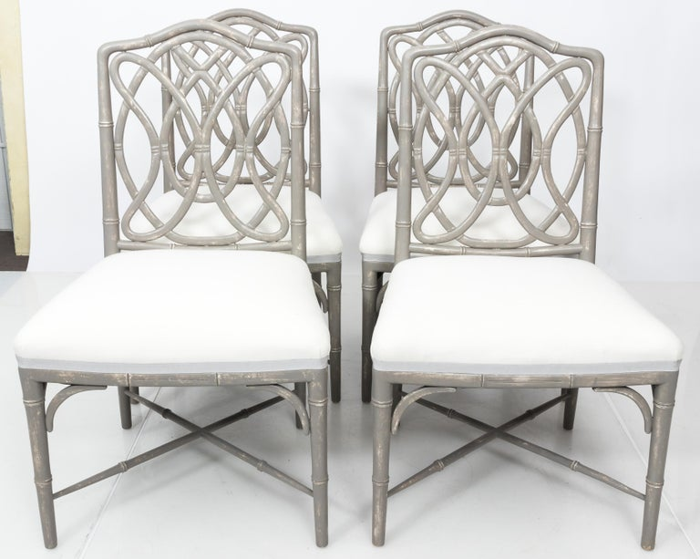 Wood Set of 4 Gray Faux Bamboo Dining Chairs For Sale