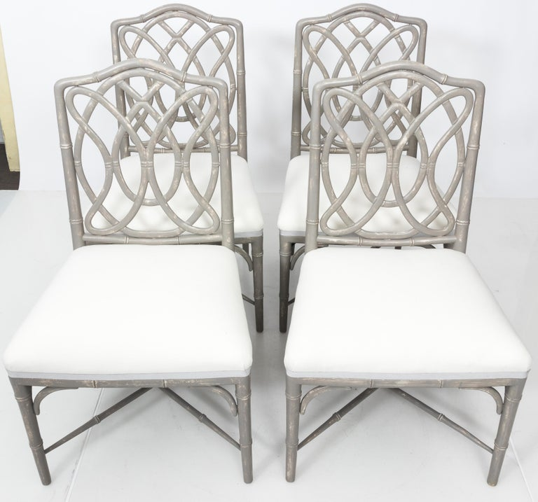 Set of 4 Gray Faux Bamboo Dining Chairs For Sale 1