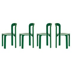 Set of 4 Green Rey Chairs by Dietiker, a Swiss Icon since 1971