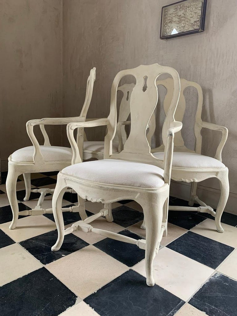 Set of 4 Gustavian Style Armchairs For Sale 3