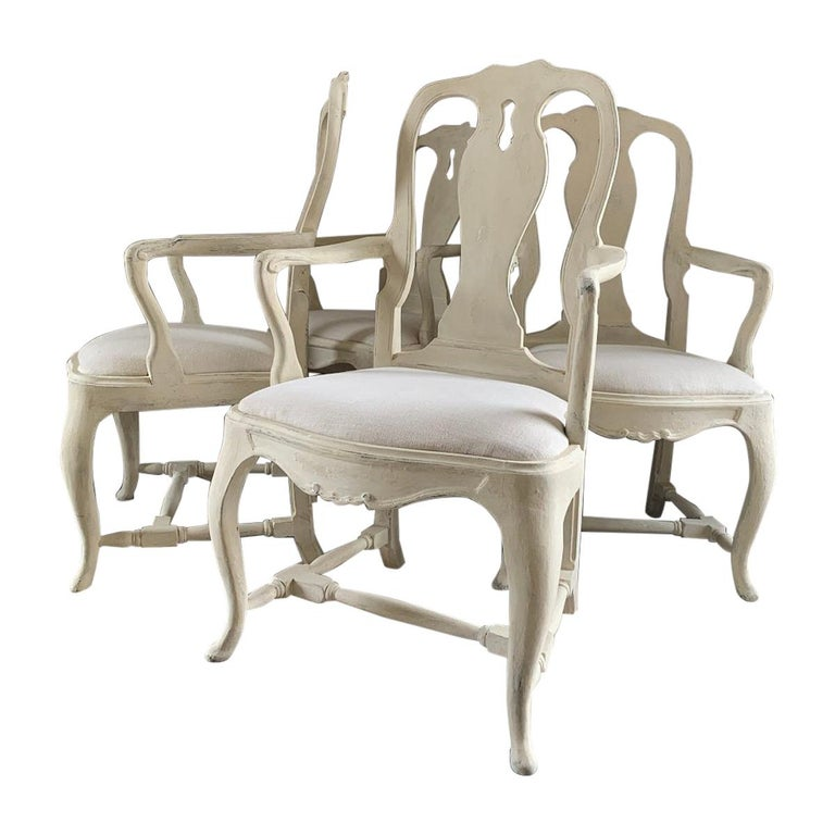 Set of 4 Gustavian Style Armchairs For Sale