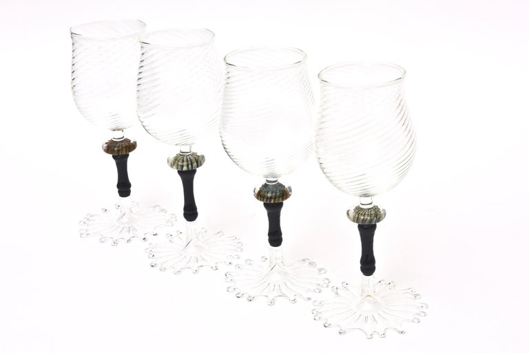 Modern Murano Glass Wine Goblets with Gold Aventurine Barware, Set of 4 For Sale