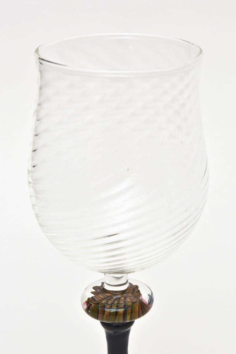 Murano Glass Wine Goblets with Gold Aventurine Barware, Set of 4 In Good Condition For Sale In North Miami, FL