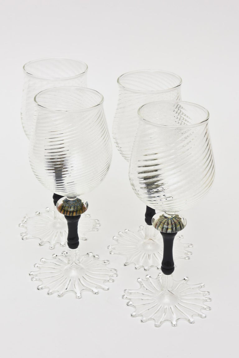 Contemporary Murano Glass Wine Goblets with Gold Aventurine Barware, Set of 4 For Sale