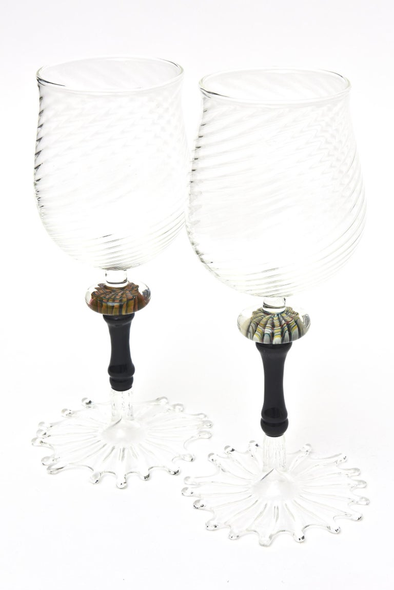 Murano Glass Wine Goblets with Gold Aventurine Barware, Set of 4 For Sale 1