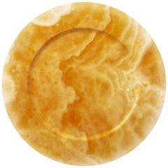 Set of 4 Hand Carved Charger Plates in Orange Onyx Design by Pieruga Marble