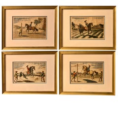 Set of 4 Hand Colored Equestrian Engravings, Nuremberg, 1678