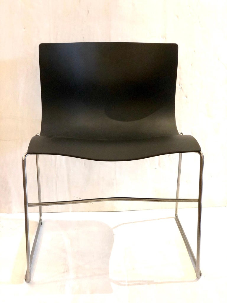 Set of 4 Handkerchief Chairs in Black & Chrome Designed by Vignelli for Knoll For Sale 2