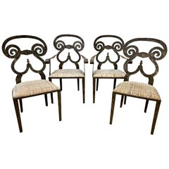 Set of 4 Handmade Cast Iron Scroll Back Outdoor Dining Chairs
