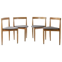 Set of 4 Hans Olsen for Frem Røjle Wood and Leather Side or Dining Chairs