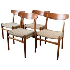 Set of 4 Hans Wegner CH23 Dining Chairs in Teak and Oak