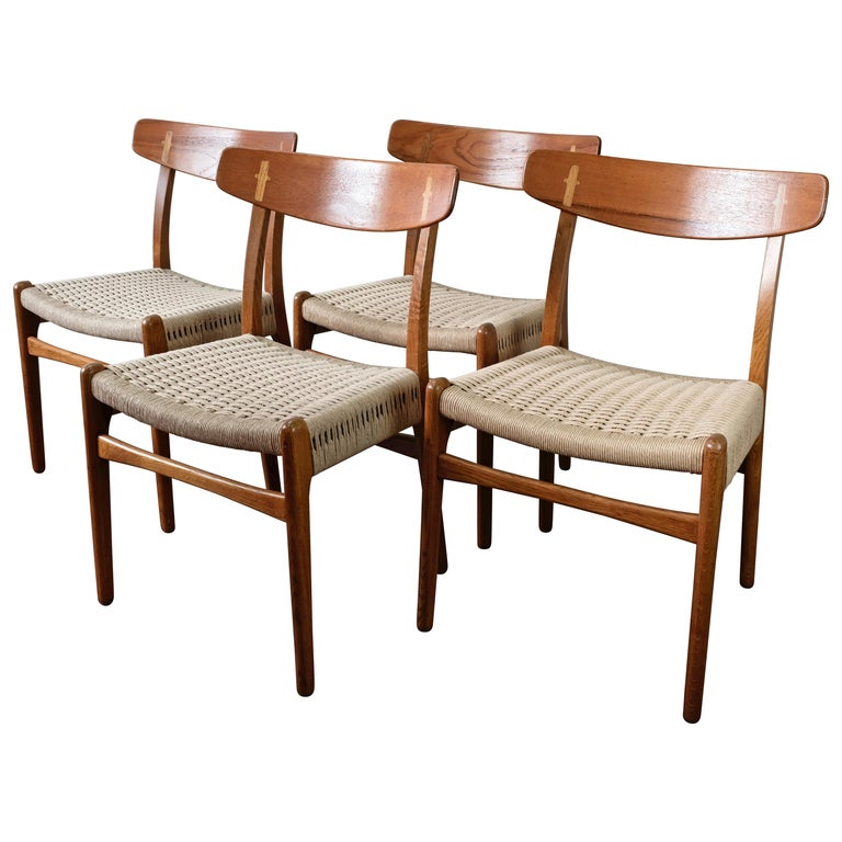 4 Dining Room Chairs For Sale: Set Of 4 Hans Wegner CH23 Dining Chairs In Teak And Oak