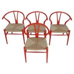 Set of 4 Hans Wegner Wishbone Chairs by Carl Hansen