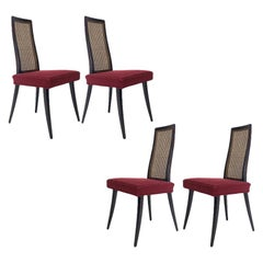 Set of 4 Harvey Probber Cane and Ebonized Mahogany Model 1055 Dining Chairs
