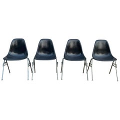 Set of 4 Herman Miller Eames Elephant Grey Stacking chairs