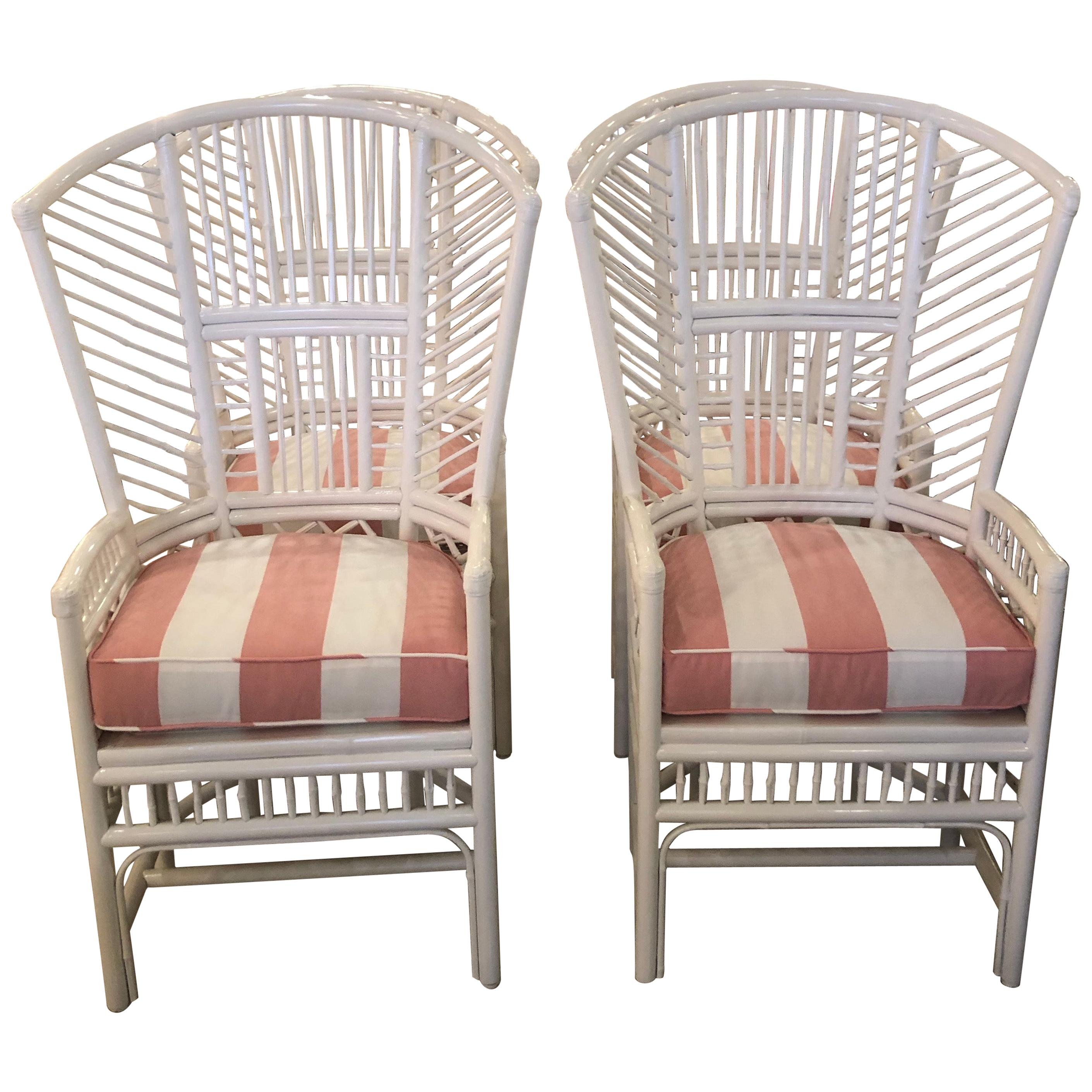 Set of 4 High Back Brighton Style Lacquered White Rattan Dining Chairs