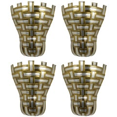 Set of 4 Hollywood Regency Corner Sconces Made of Interwoven Aluminium and Brass
