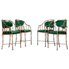Set of 4 Hollywood Regency Dining Chairs in Metal and Velvet, France, 1970s