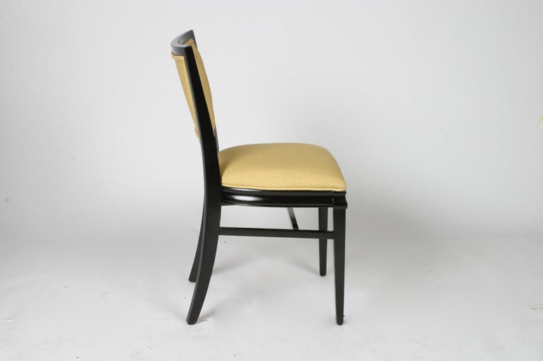 Mid-Century Modern Set of 4 Hollywood Regency Ebonized Channel Back Dining Side Chairs, circa 1940s For Sale