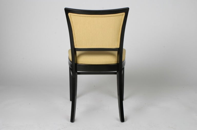 American Set of 4 Hollywood Regency Ebonized Channel Back Dining Side Chairs, circa 1940s For Sale