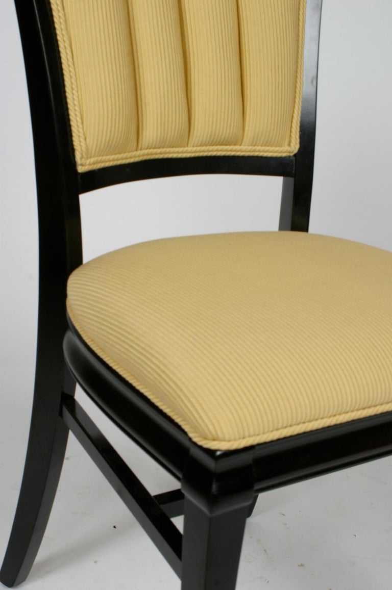 Set of 4 Hollywood Regency Ebonized Channel Back Dining Side Chairs, circa 1940s In Good Condition For Sale In St. Louis, MO