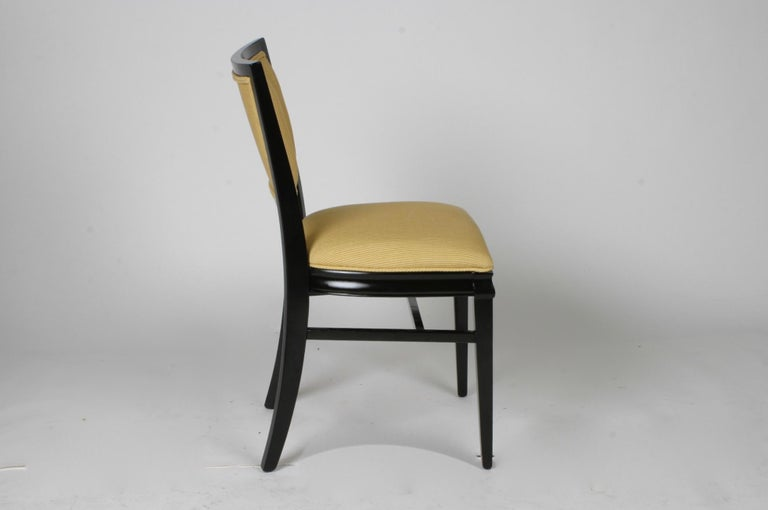 Mid-20th Century Set of 4 Hollywood Regency Ebonized Channel Back Dining Side Chairs, circa 1940s For Sale