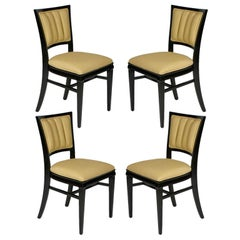Set of 4 Hollywood Regency Ebonized Channel Back Dining Side Chairs, circa 1940s