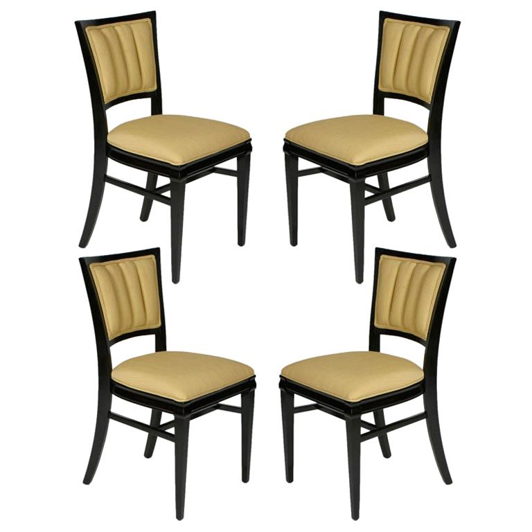 Set of 4 Hollywood Regency Ebonized Channel Back Dining Side Chairs, circa 1940s For Sale