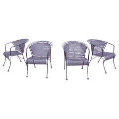 Set of 4 Iron Patio Chairs by Russell Woodard