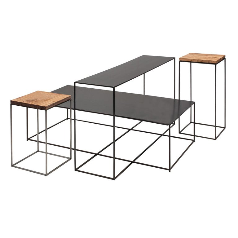 Set of 4 Irony Small End and Side Tables For Sale