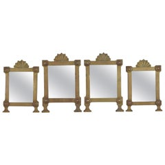Set of 4 Italian Baroque Style Patinated Bronze Mirrors, 19th Century