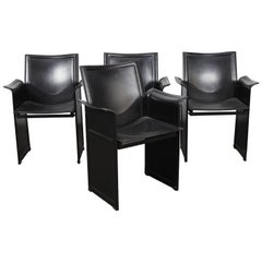 Set of 4 Italian Black Leather Dining Chairs by Tito Agnoli for Matteo Grassi