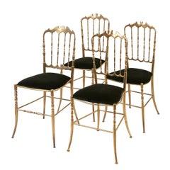 Set of 4 Italian Brass Chiavari Chairs, circa 1960