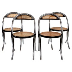 Set of 4 Italian Cane and Chrome Chairs 1970s