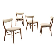 Set of 4 Italian Dining Chair in Walnut and Light Fabric, Italy, 1960s