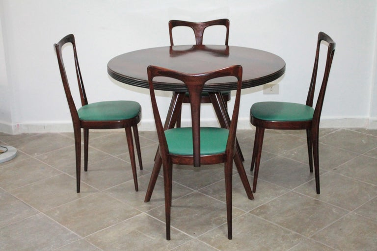 Set of 4 Italian Dining Chairs by Guglielmo Ulrich, 1950s For Sale 4