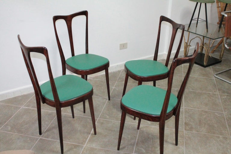 Mid-Century Modern Set of 4 Italian Dining Chairs by Guglielmo Ulrich, 1950s For Sale