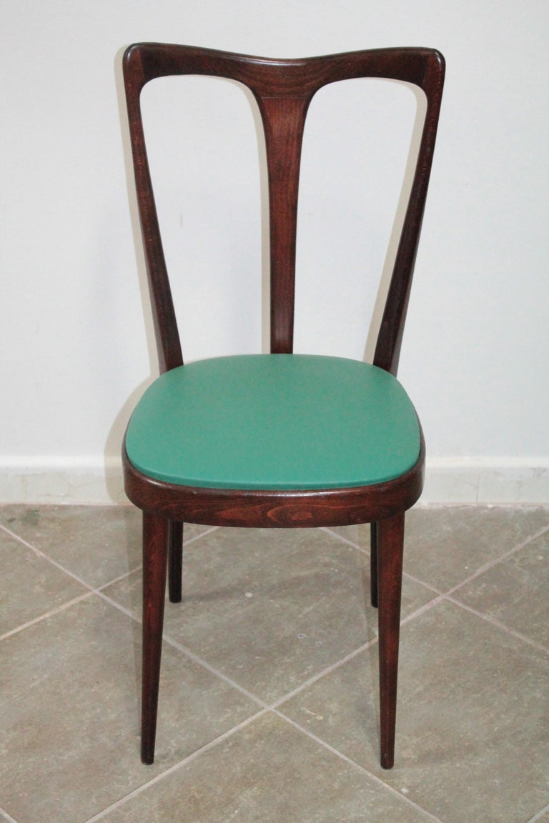 Set of 4 Italian Dining Chairs by Guglielmo Ulrich, 1950s In Good Condition For Sale In Palermo, Palermo