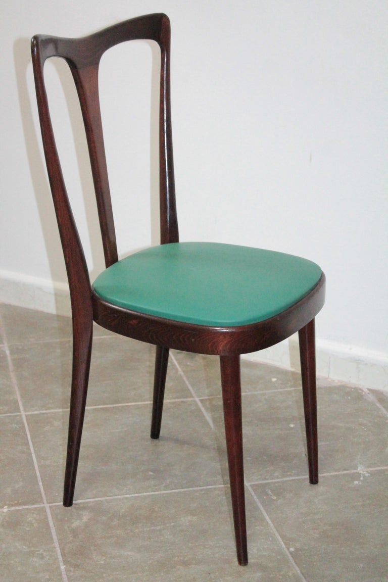 Set of 4 Italian Dining Chairs by Guglielmo Ulrich, 1950s For Sale 1