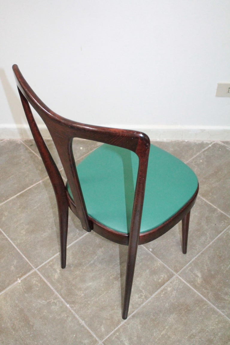 Set of 4 Italian Dining Chairs by Guglielmo Ulrich, 1950s For Sale 2